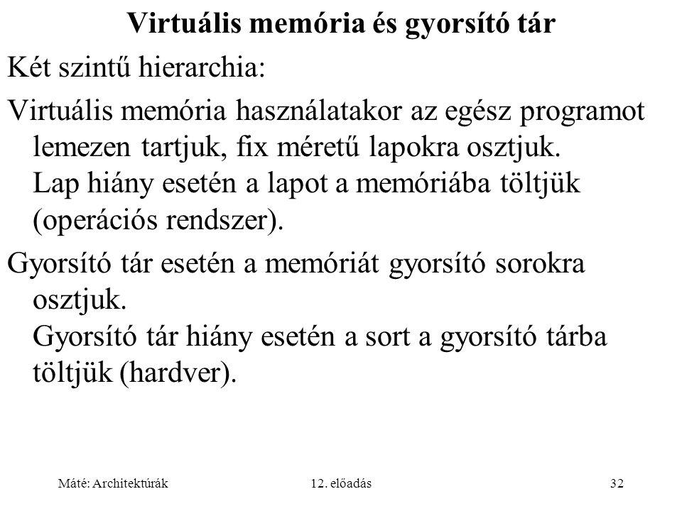 Máté: Architektúrák12. előadás32 Virtuális memória és gyorsító tár Két szintű hierarchia: Virtuális memória használatakor az egész programot lemezen t