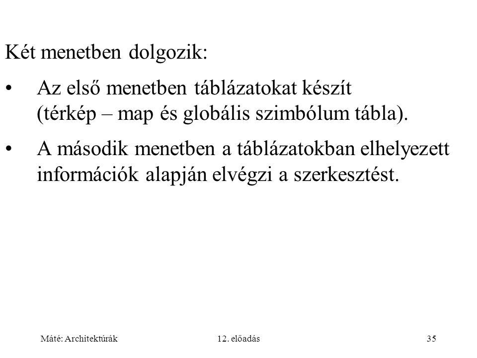 Máté: Architektúrák12. előadás35 Két menetben dolgozik: Az első menetben táblázatokat készít (térkép – map és globális szimbólum tábla). A második men