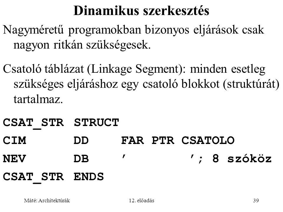 Máté: Architektúrák12. előadás39 Dinamikus szerkesztés Nagyméretű programokban bizonyos eljárások csak nagyon ritkán szükségesek. Csatoló táblázat (Li