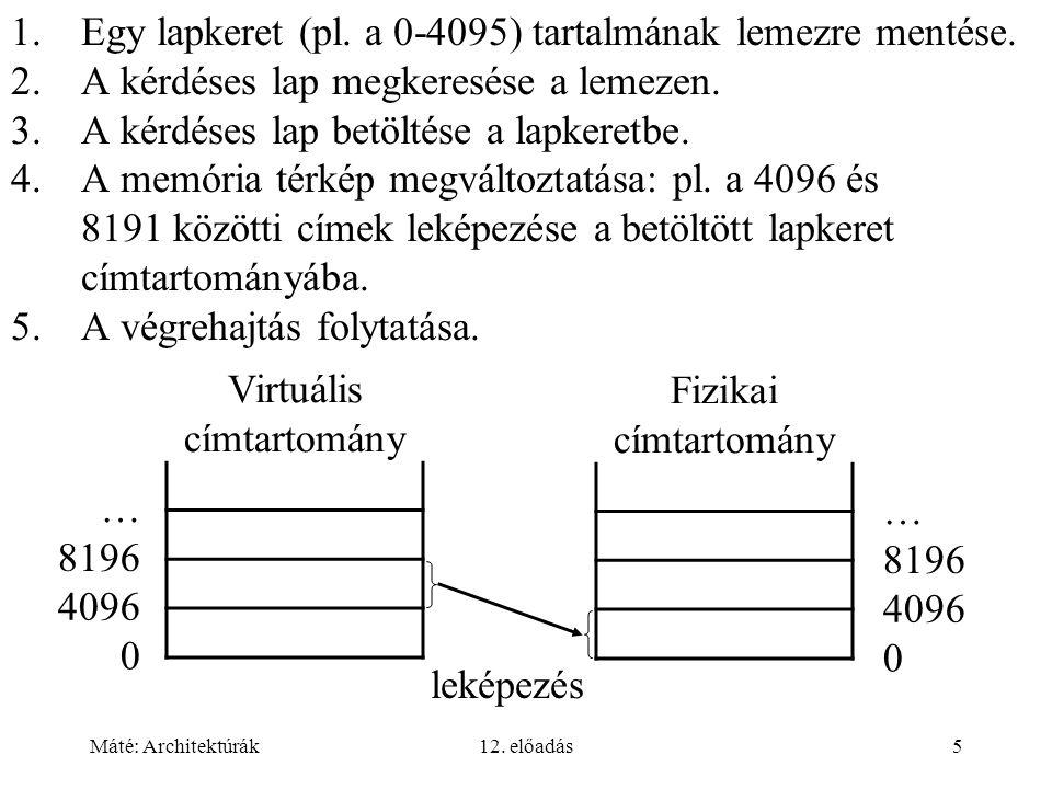 Máté: Architektúrák12. előadás5 1.Egy lapkeret (pl. a 0-4095) tartalmának lemezre mentése. 2.A kérdéses lap megkeresése a lemezen. 3.A kérdéses lap be
