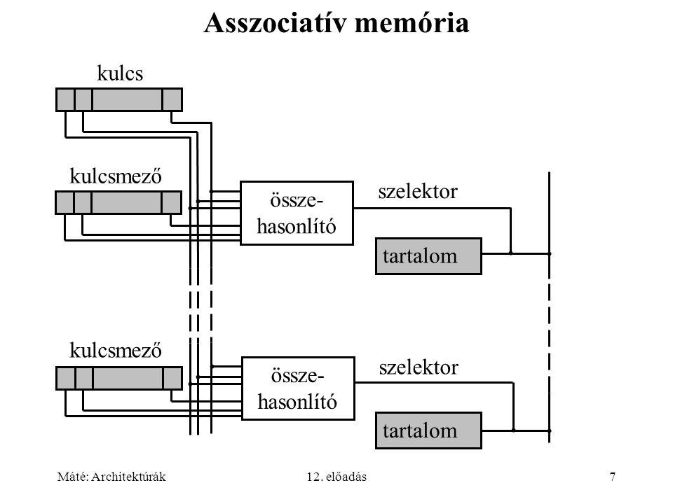 Máté: Architektúrák12. előadás7 Asszociatív memória kulcsmező kulcs össze- hasonlító szelektor tartalom össze- hasonlító tartalom szelektor