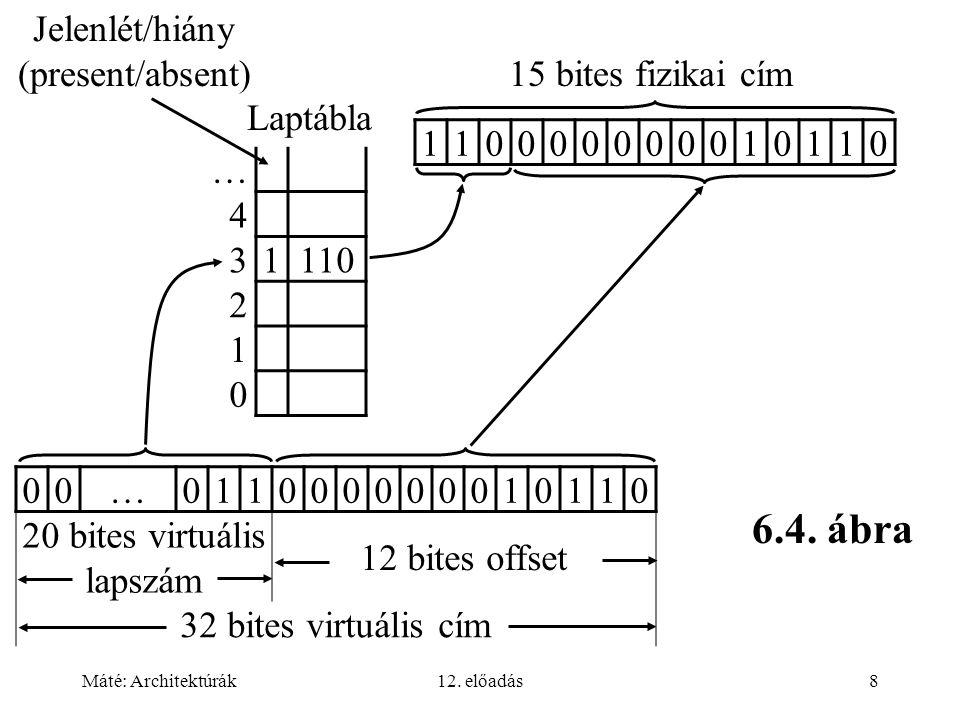 Máté: Architektúrák12. előadás8 Jelenlét/hiány (present/absent) … 4 3 1110 2 1 0 00…011000000010110 20 bites virtuális lapszám 12 bites offset 32 bite