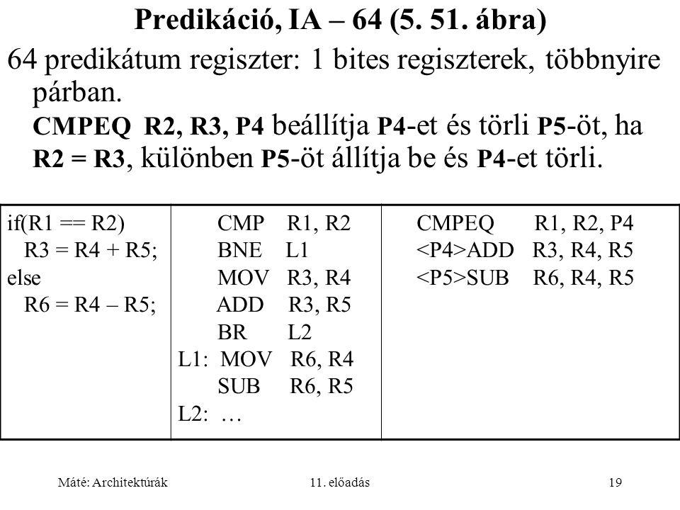 Máté: Architektúrák11. előadás19 Predikáció, IA – 64 (5.