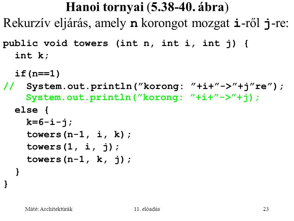 Máté: Architektúrák11. előadás23 Hanoi tornyai (5.38-40.