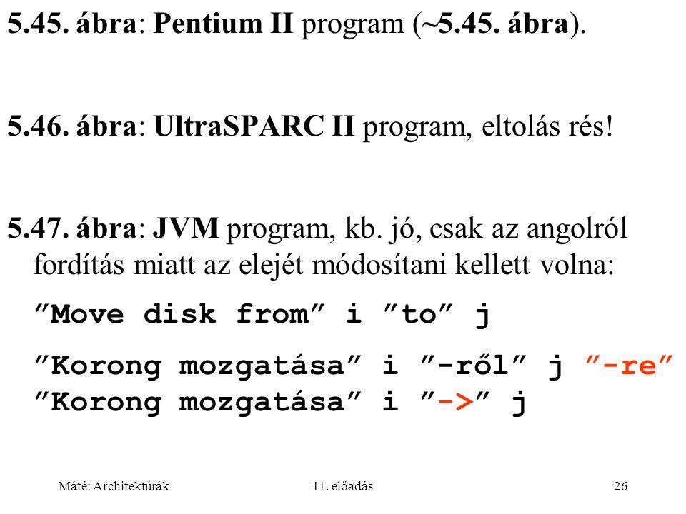 Máté: Architektúrák11. előadás26 5.45. ábra: Pentium II program (~5.45.
