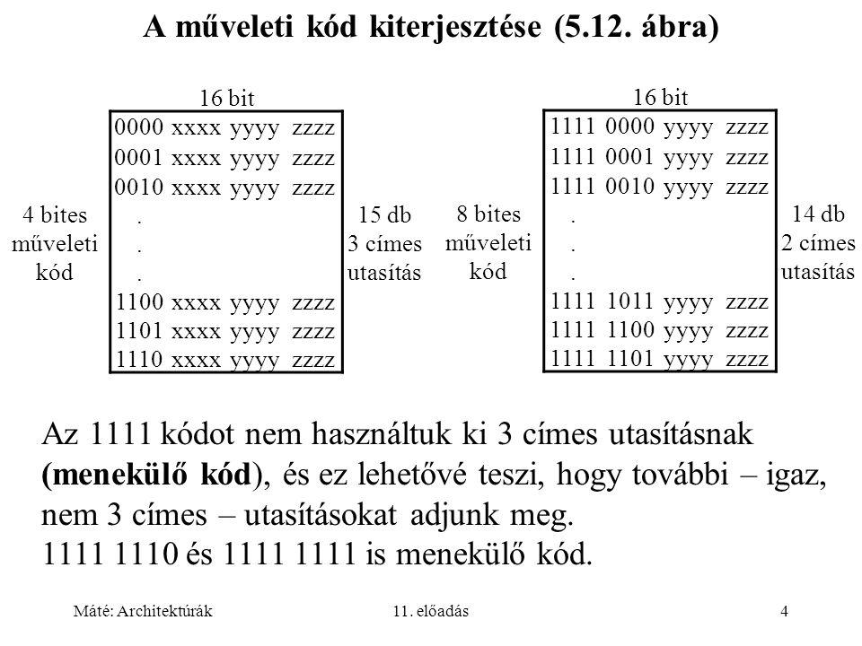 Máté: Architektúrák11. előadás4 A műveleti kód kiterjesztése (5.12.