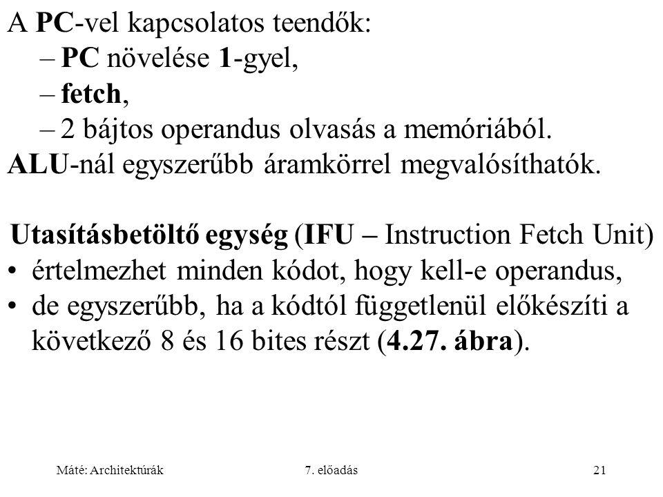 Máté: Architektúrák7. előadás21 A PC-vel kapcsolatos teendők: –PC növelése 1-gyel, –fetch, –2 bájtos operandus olvasás a memóriából. ALU-nál egyszerűb