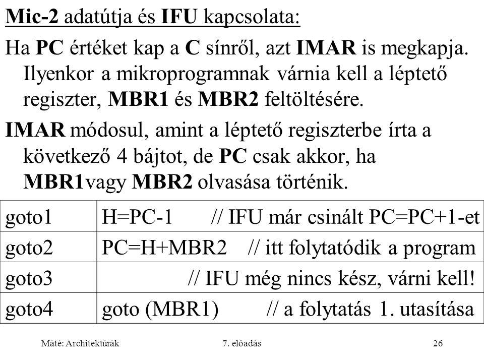 Máté: Architektúrák7. előadás26 Mic-2 adatútja és IFU kapcsolata: Ha PC értéket kap a C sínről, azt IMAR is megkapja. Ilyenkor a mikroprogramnak várni