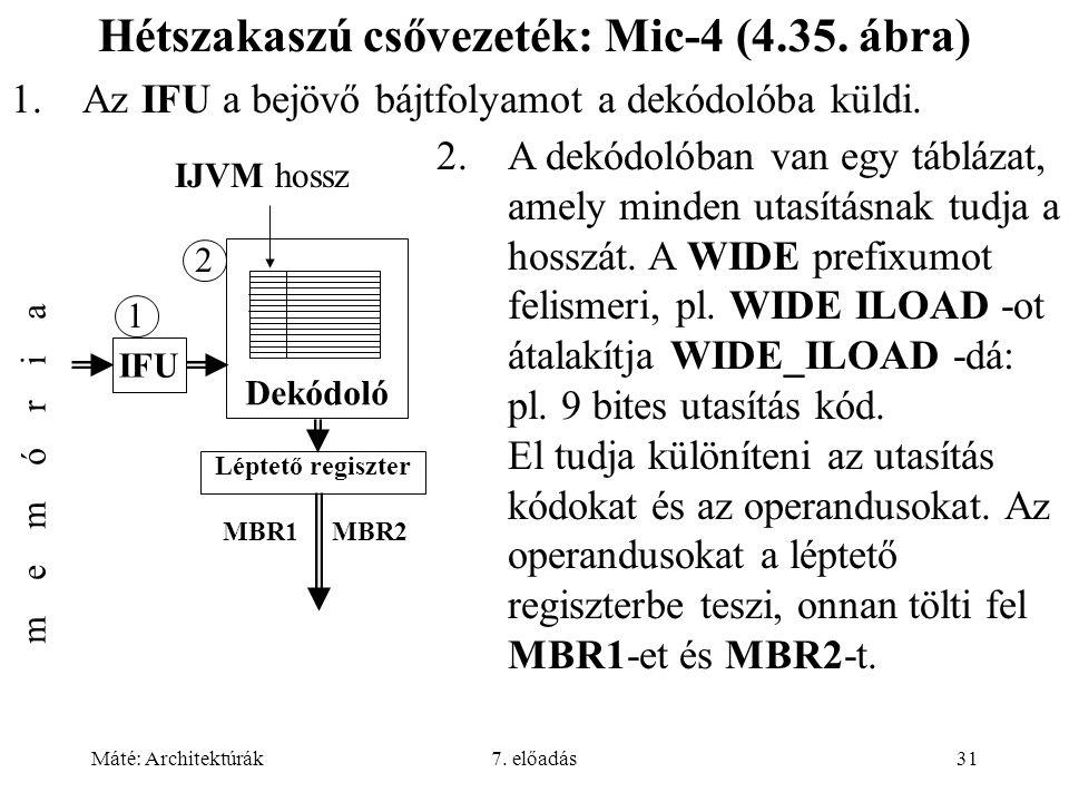 Máté: Architektúrák7. előadás31 Hétszakaszú csővezeték: Mic-4 (4.35. ábra) 1.Az IFU a bejövő bájtfolyamot a dekódolóba küldi. 2.A dekódolóban van egy