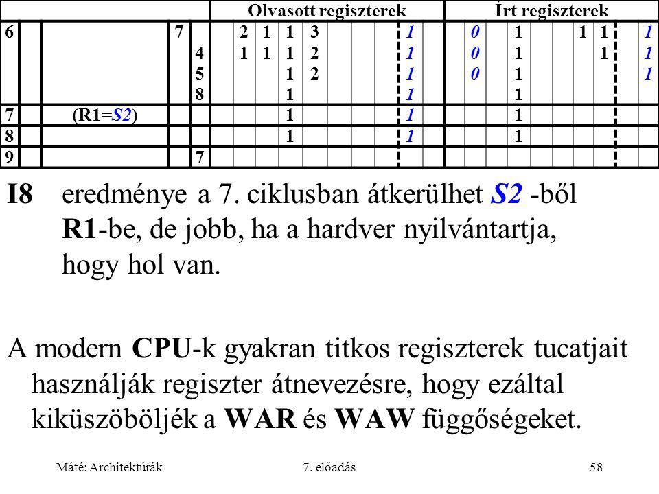 Máté: Architektúrák7. előadás58 Olvasott regiszterekÍrt regiszterek 67 458458 2121 1111 11111111 322322 11111111 000000 11111111 11111 111111 7(R1=S2)