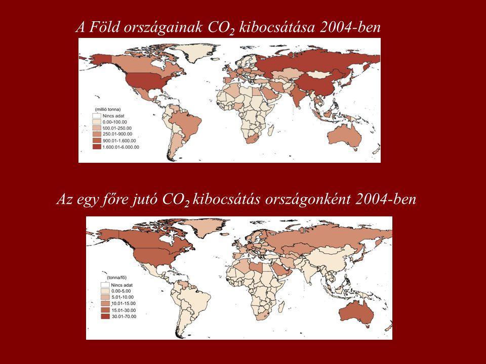 A Föld országainak CO 2 kibocsátása 2004-ben Az egy főre jutó CO 2 kibocsátás országonként 2004-ben