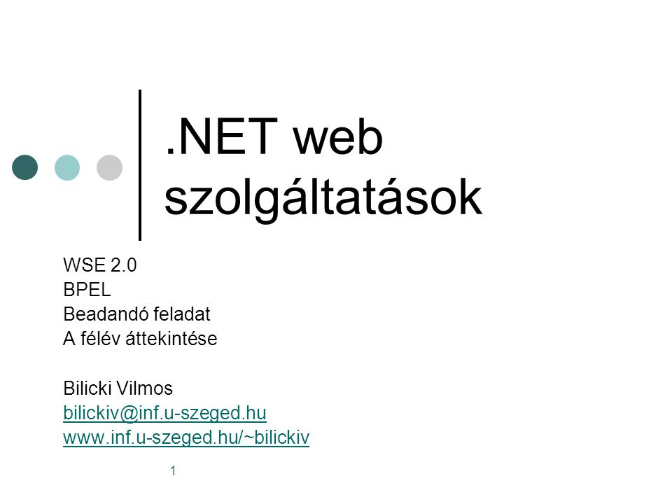 2 MCP vizsga lehetőség http://www.microsoft.com/learning/mcp/mcp/ Javasolt vizsga: Developing and Implementing Web Applications with Microsoft Visual C#.NET and Microsoft Visual Studio.NET http://www.microsoft.com/learning/exams/70- 315.asp Email: bilickiv….