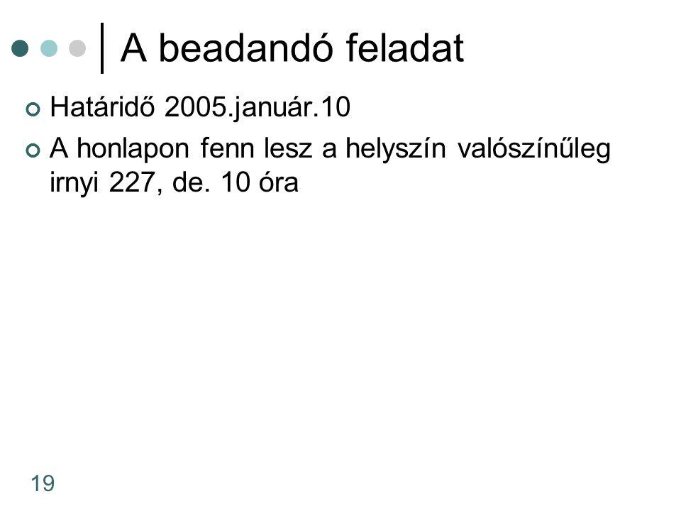 19 A beadandó feladat Határidő 2005.január.10 A honlapon fenn lesz a helyszín valószínűleg irnyi 227, de. 10 óra