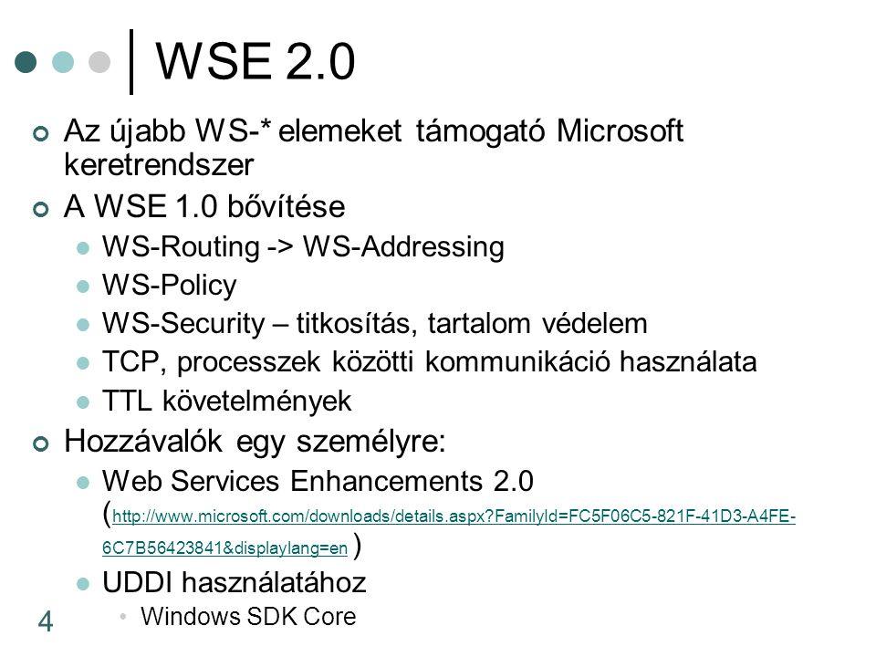 4 WSE 2.0 Az újabb WS-* elemeket támogató Microsoft keretrendszer A WSE 1.0 bővítése WS-Routing -> WS-Addressing WS-Policy WS-Security – titkosítás, tartalom védelem TCP, processzek közötti kommunikáció használata TTL követelmények Hozzávalók egy személyre: Web Services Enhancements 2.0 ( http://www.microsoft.com/downloads/details.aspx FamilyId=FC5F06C5-821F-41D3-A4FE- 6C7B56423841&displaylang=en ) http://www.microsoft.com/downloads/details.aspx FamilyId=FC5F06C5-821F-41D3-A4FE- 6C7B56423841&displaylang=en UDDI használatához Windows SDK Core