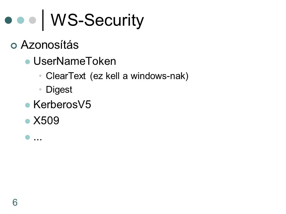 6 WS-Security Azonosítás UserNameToken ClearText (ez kell a windows-nak) Digest KerberosV5 X509...