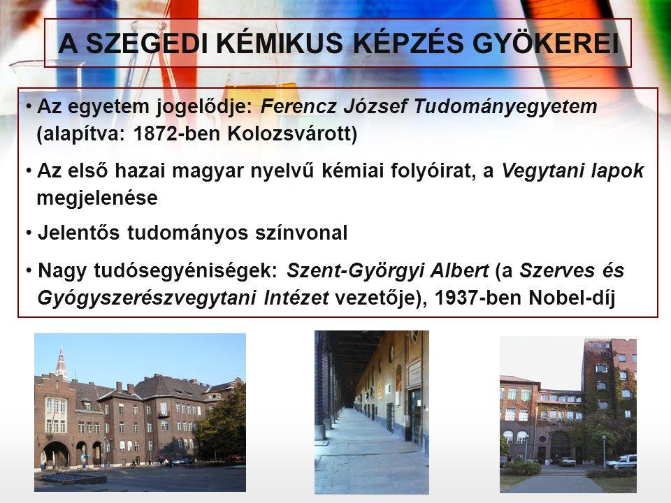 Az egyetem jogelődje: Ferencz József Tudományegyetem (alapítva: 1872-ben Kolozsvárott) Az első hazai magyar nyelvű kémiai folyóirat, a Vegytani lapok