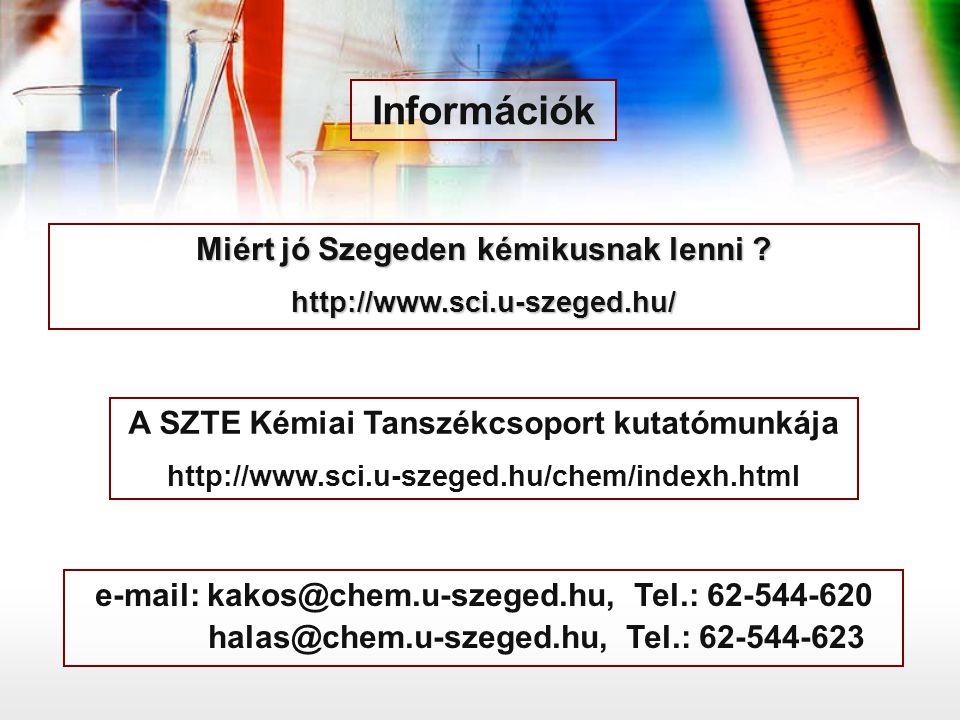 Miért jó Szegeden kémikusnak lenni ? http://www.sci.u-szeged.hu/ e-mail: kakos@chem.u-szeged.hu, Tel.: 62-544-620 halas@chem.u-szeged.hu, Tel.: 62-544