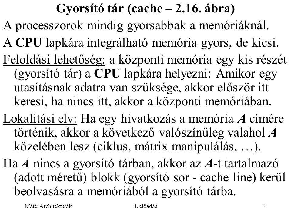 Máté: Architektúrák4. előadás1 Gyorsító tár (cache – 2.16. ábra) A processzorok mindig gyorsabbak a memóriáknál. A CPU lapkára integrálható memória gy