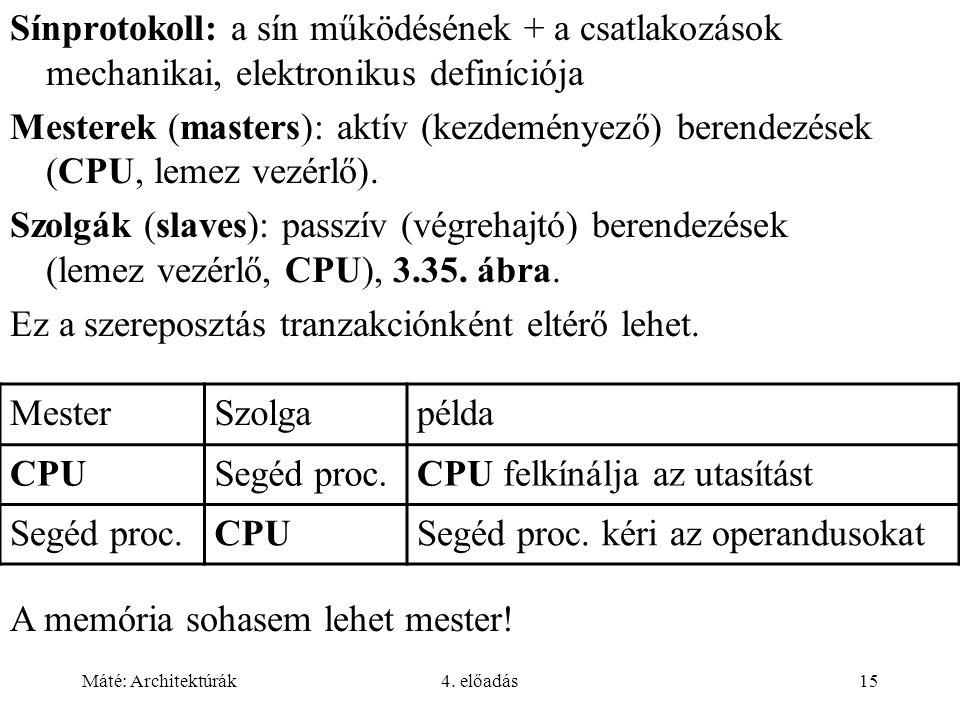 Máté: Architektúrák4. előadás15 Sínprotokoll: a sín működésének + a csatlakozások mechanikai, elektronikus definíciója Mesterek (masters): aktív (kezd