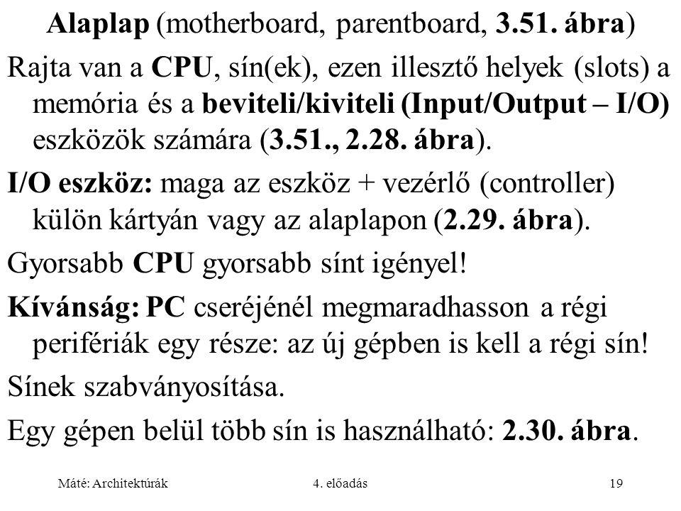 Máté: Architektúrák4. előadás19 Alaplap (motherboard, parentboard, 3.51. ábra) Rajta van a CPU, sín(ek), ezen illesztő helyek (slots) a memória és a b