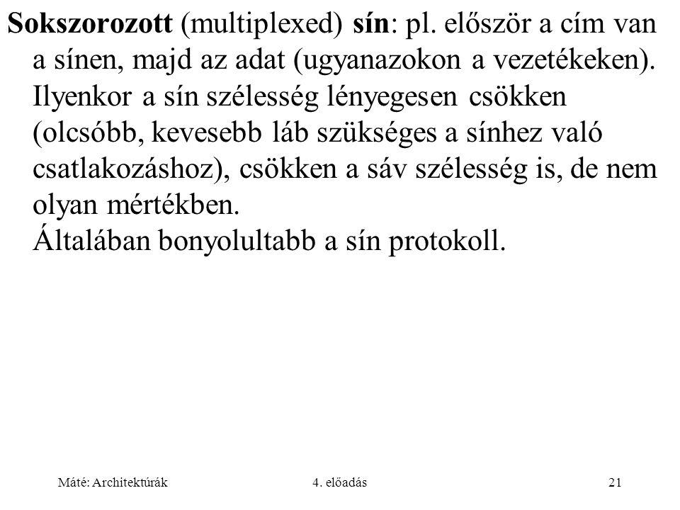 Máté: Architektúrák4. előadás21 Sokszorozott (multiplexed) sín: pl. először a cím van a sínen, majd az adat (ugyanazokon a vezetékeken). Ilyenkor a sí
