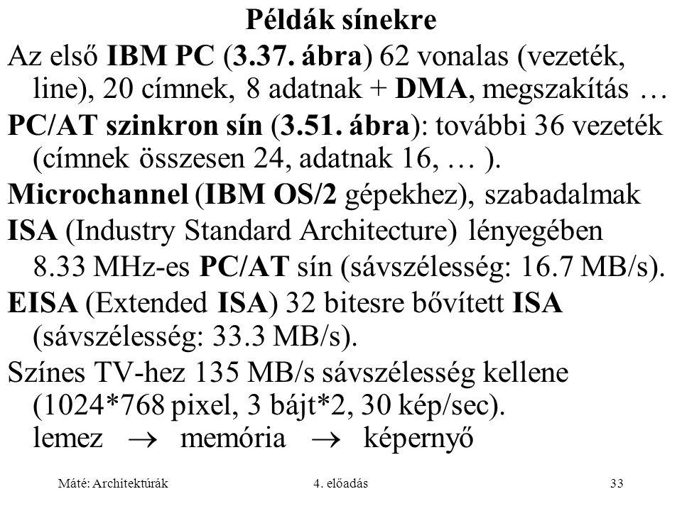 Máté: Architektúrák4. előadás33 Példák sínekre Az első IBM PC (3.37. ábra) 62 vonalas (vezeték, line), 20 címnek, 8 adatnak + DMA, megszakítás … PC/AT