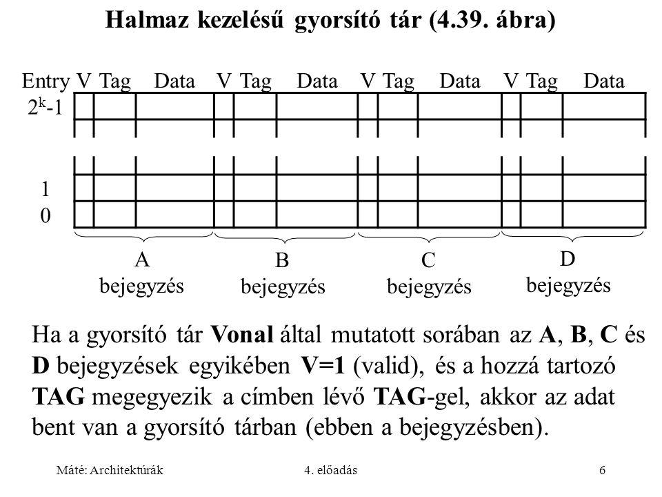 Máté: Architektúrák4. előadás6 Halmaz kezelésű gyorsító tár (4.39. ábra) Ha a gyorsító tár Vonal által mutatott sorában az A, B, C és D bejegyzések eg