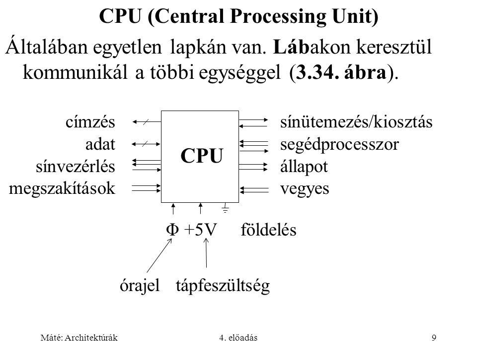 Máté: Architektúrák4. előadás9 CPU (Central Processing Unit) Általában egyetlen lapkán van. Lábakon keresztül kommunikál a többi egységgel (3.34. ábra