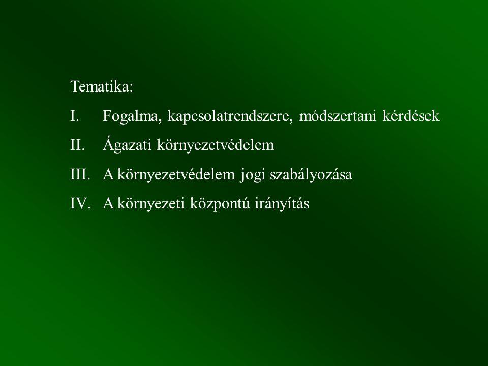 Tematika: I. Fogalma, kapcsolatrendszere, módszertani kérdések II. Ágazati környezetvédelem III.A környezetvédelem jogi szabályozása IV.A környezeti k