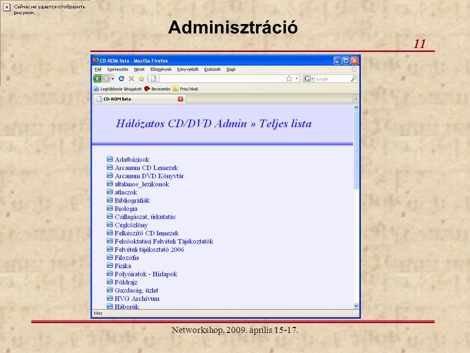 Networkshop, 2009. április 15-17. 11 Adminisztráció