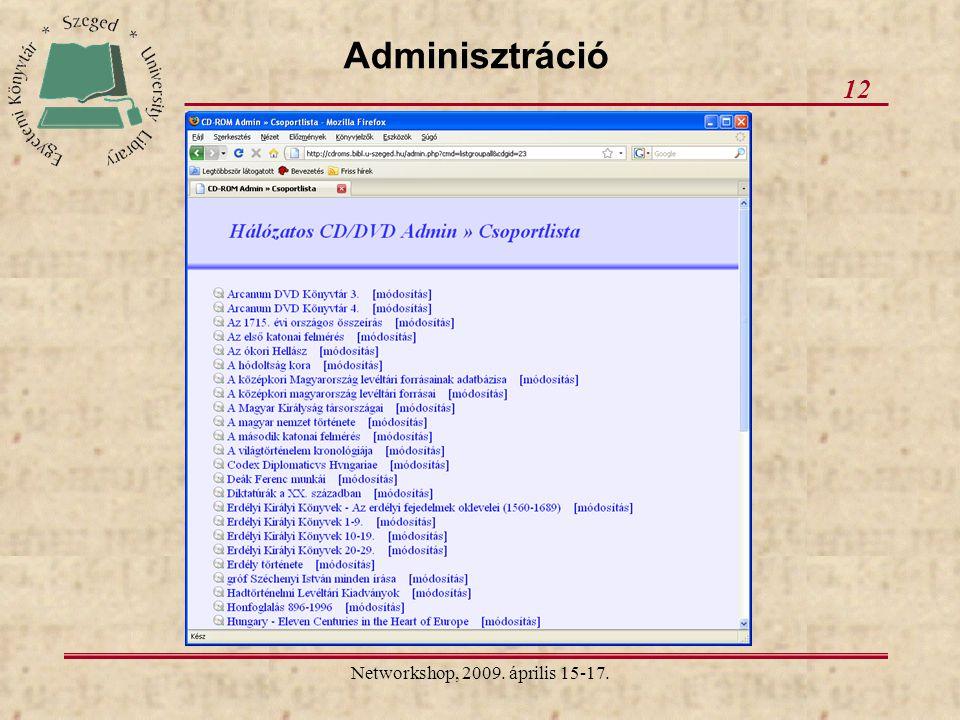 Networkshop, 2009. április 15-17. 12 Adminisztráció