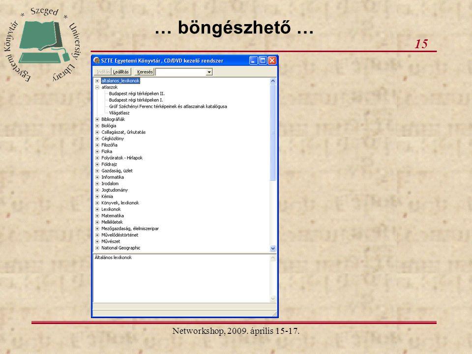 Networkshop, 2009. április 15-17. 15 … böngészhető …