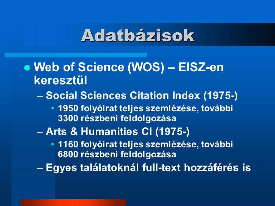 Adatbázisok Web of Science (WOS) – EISZ-en keresztül –Social Sciences Citation Index (1975-) 1950 folyóirat teljes szemlézése, további 3300 részbeni f