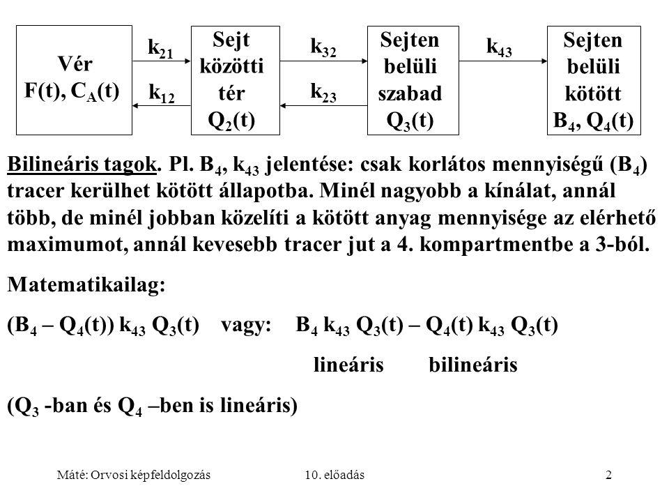 Máté: Orvosi képfeldolgozás10. előadás2 Bilineáris tagok. Pl. B 4, k 43 jelentése: csak korlátos mennyiségű (B 4 ) tracer kerülhet kötött állapotba. M