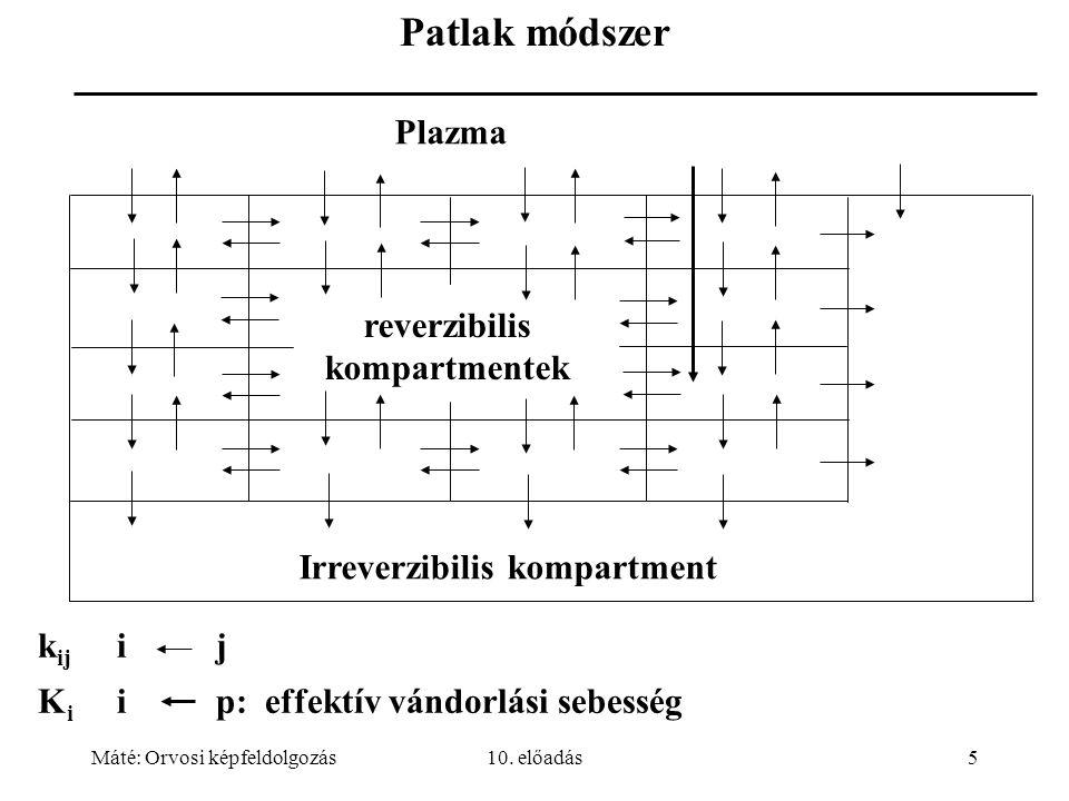 Máté: Orvosi képfeldolgozás10. előadás5 k ij i j K i i p: effektív vándorlási sebesség Patlak módszer Plazma reverzibilis kompartmentek Irreverzibilis