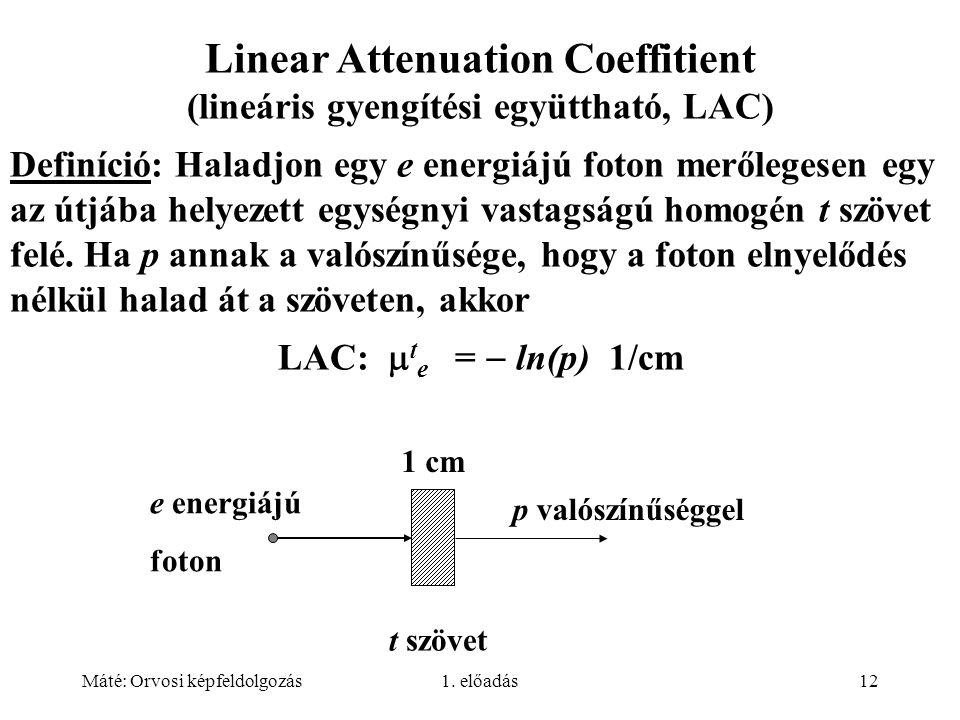 Máté: Orvosi képfeldolgozás1. előadás12 Linear Attenuation Coeffitient (lineáris gyengítési együttható, LAC) Definíció: Haladjon egy e energiájú foton