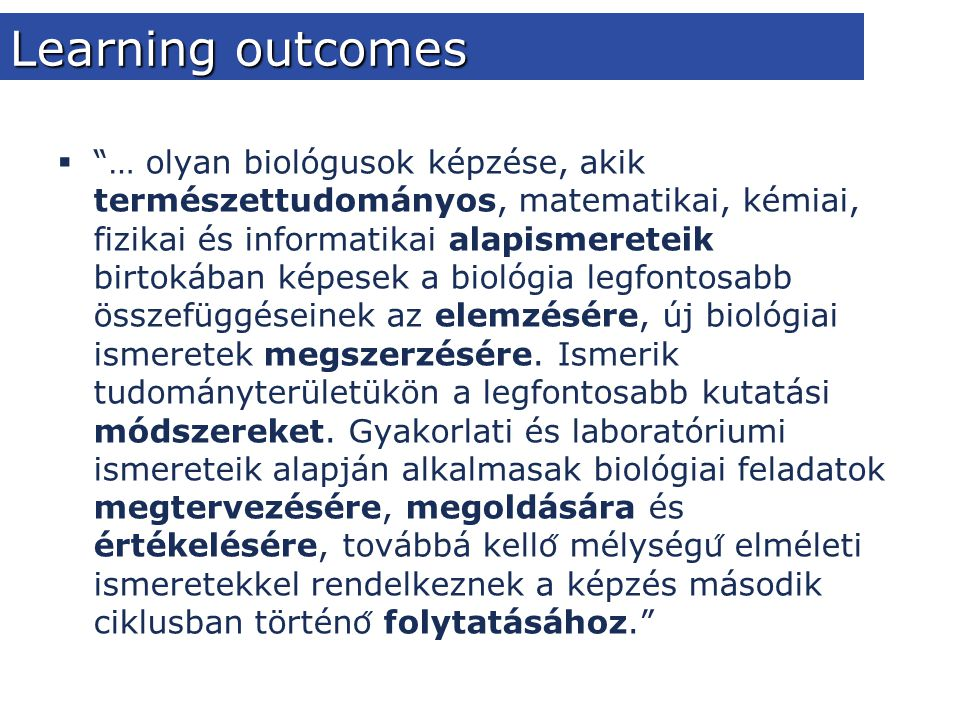 Learning outcomes  ...