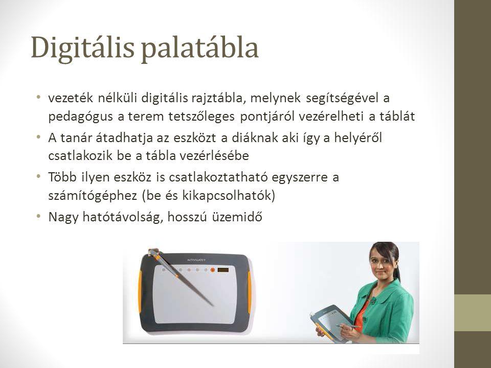 Digitális palatábla vezeték nélküli digitális rajztábla, melynek segítségével a pedagógus a terem tetszőleges pontjáról vezérelheti a táblát A tanár á