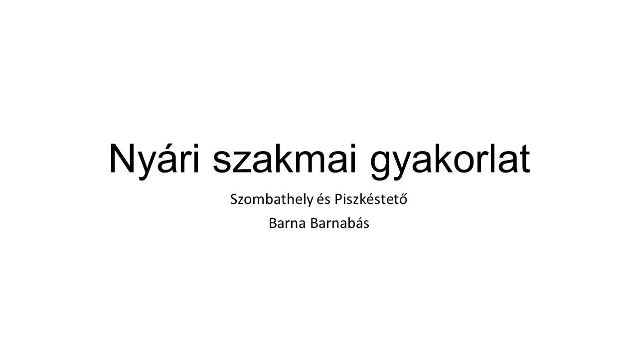 Nyári szakmai gyakorlat Szombathely és Piszkéstető Barna Barnabás