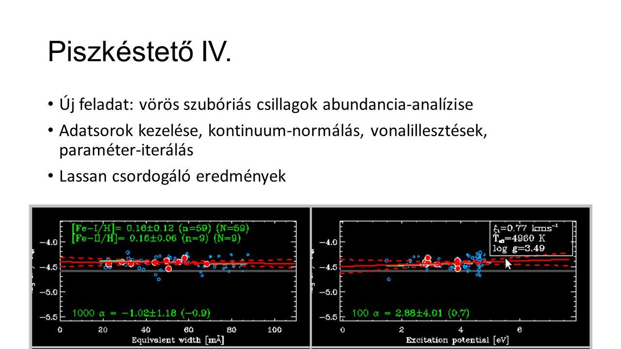 Piszkéstető IV. Új feladat: vörös szubóriás csillagok abundancia-analízise Adatsorok kezelése, kontinuum-normálás, vonalillesztések, paraméter-iterálá