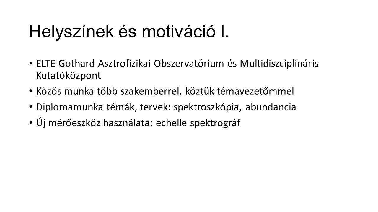 Helyszínek és motiváció I. ELTE Gothard Asztrofizikai Obszervatórium és Multidiszciplináris Kutatóközpont Közös munka több szakemberrel, köztük témave