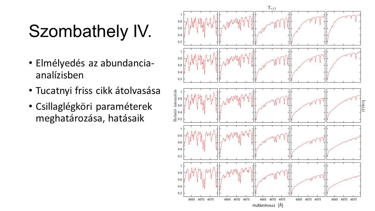 Szombathely IV. Elmélyedés az abundancia- analízisben Tucatnyi friss cikk átolvasása Csillaglégköri paraméterek meghatározása, hatásaik