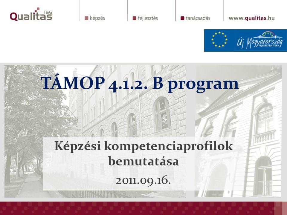 TÁMOP 4.1.2. B program Képzési kompetenciaprofilok bemutatása 2011.09.16.