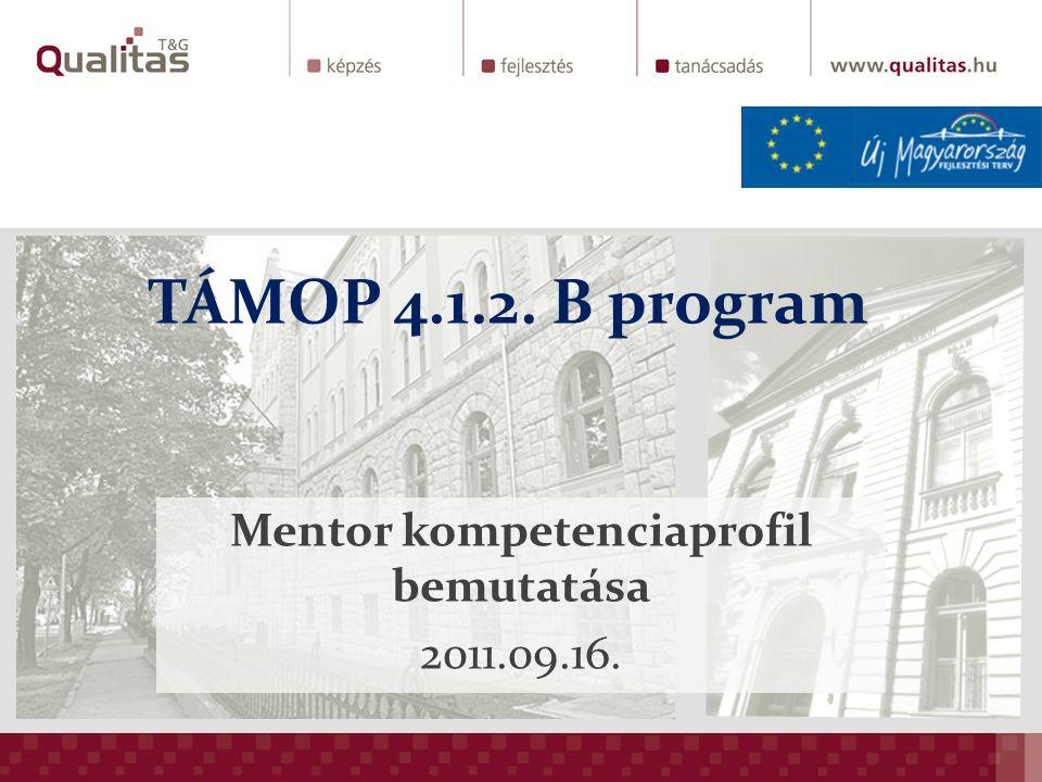TÁMOP 4.1.2. B program Mentor kompetenciaprofil bemutatása 2011.09.16.
