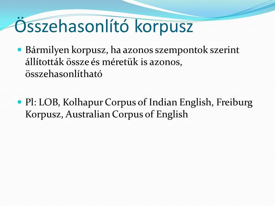 Összehasonlító korpusz Bármilyen korpusz, ha azonos szempontok szerint állították össze és méretük is azonos, összehasonlítható Pl: LOB, Kolhapur Corpus of Indian English, Freiburg Korpusz, Australian Corpus of English