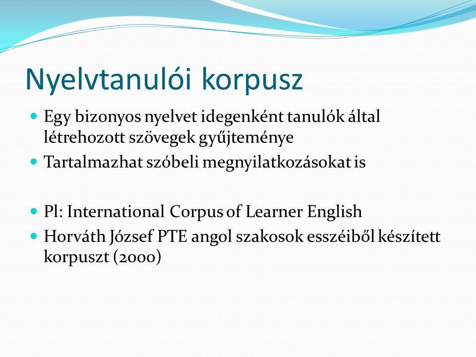 Nyelvtanulói korpusz Egy bizonyos nyelvet idegenként tanulók által létrehozott szövegek gyűjteménye Tartalmazhat szóbeli megnyilatkozásokat is Pl: International Corpus of Learner English Horváth József PTE angol szakosok esszéiből készített korpuszt (2000)
