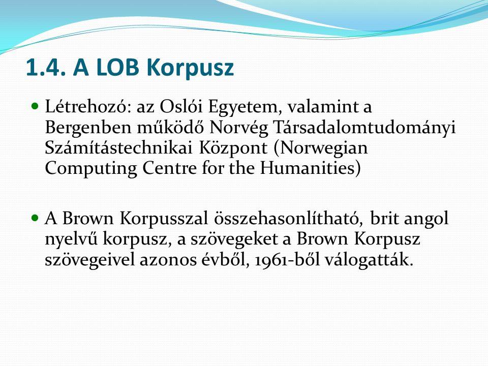 1.4. A LOB Korpusz Létrehozó: az Oslói Egyetem, valamint a Bergenben működő Norvég Társadalomtudományi Számítástechnikai Központ (Norwegian Computing