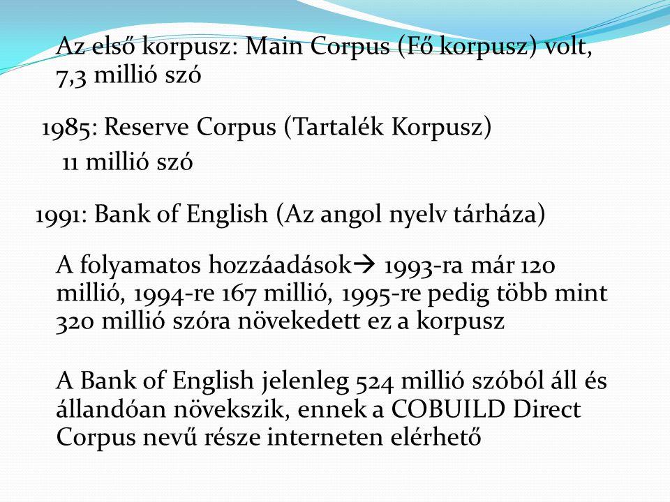 Az első korpusz: Main Corpus (Fő korpusz) volt, 7,3 millió szó 1985: Reserve Corpus (Tartalék Korpusz) 11 millió szó 1991: Bank of English (Az angol nyelv tárháza) A folyamatos hozzáadások  1993-ra már 120 millió, 1994-re 167 millió, 1995-re pedig több mint 320 millió szóra növekedett ez a korpusz A Bank of English jelenleg 524 millió szóból áll és állandóan növekszik, ennek a COBUILD Direct Corpus nevű része interneten elérhető