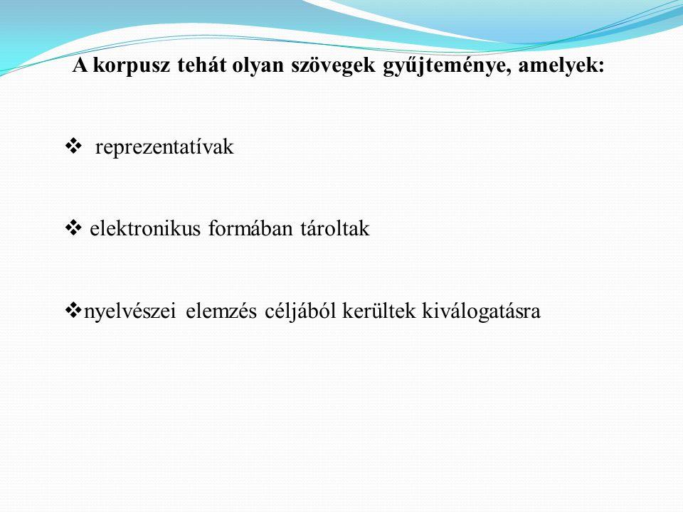 A korpusz tehát olyan szövegek gyűjteménye, amelyek:  reprezentatívak  elektronikus formában tároltak  nyelvészei elemzés céljából kerültek kiválogatásra