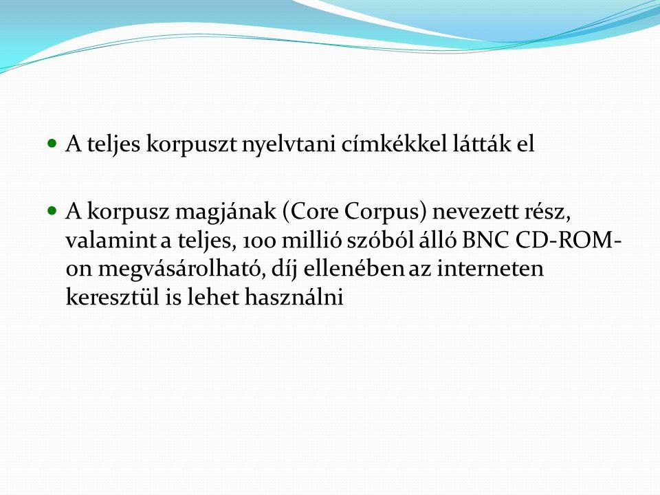 A teljes korpuszt nyelvtani címkékkel látták el A korpusz magjának (Core Corpus) nevezett rész, valamint a teljes, 100 millió szóból álló BNC CD-ROM- on megvásárolható, díj ellenében az interneten keresztül is lehet használni